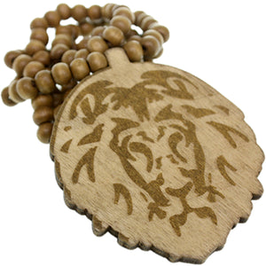 Light Brown Wooden Lion Head Beaded Necklace