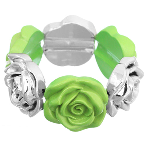 Green Floral Stretch Bracelet