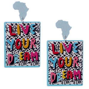 Live Your Dream Wooden Earrings