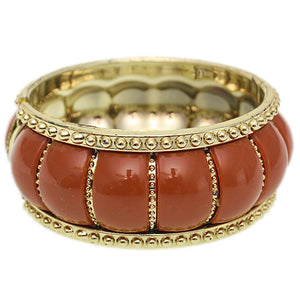 Brown Puffy Crown Hinged Bracelet