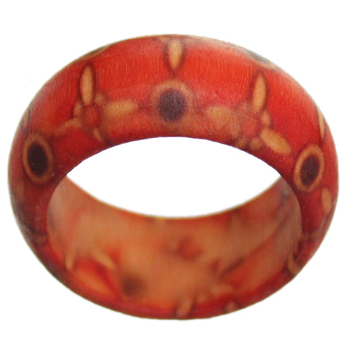 Red Wooden Quatrefoil Bohemian Ring