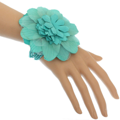 Mint Beaded Stretch Flower Bracelet