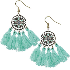 Mint Green Tassel Fringe Drop Earrings