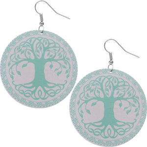 Mint Tree of Life Wooden Earrings