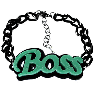 Moderate Green Boss Letter Link Chain Bracelet