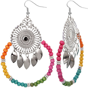 Multicolor Wooden Beaded Dream Catcher Earrings