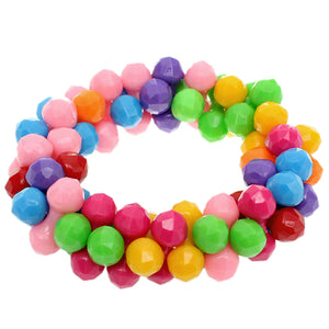 Multicolor Beaded Stretch Barbell Bracelet