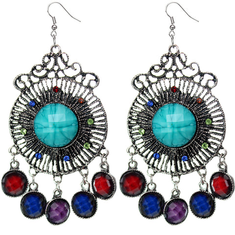 Multi-Color Round Faceted Beaded Chandelier Earrings