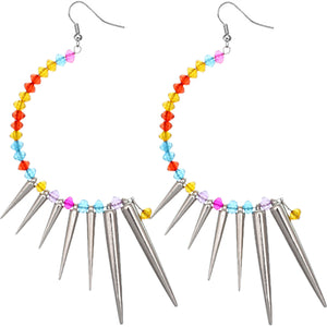 Multicolor Beaded Curve Spike Earrings