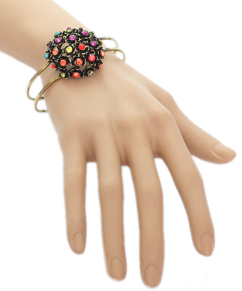 Multicolor Iridescent Flower Bouquet Hinged Bracelet