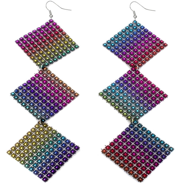 Multicolor Long Triple Studded Mesh Dangle Earrings
