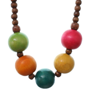 Multicolor Wooden Beaded Stretch Necklace Set