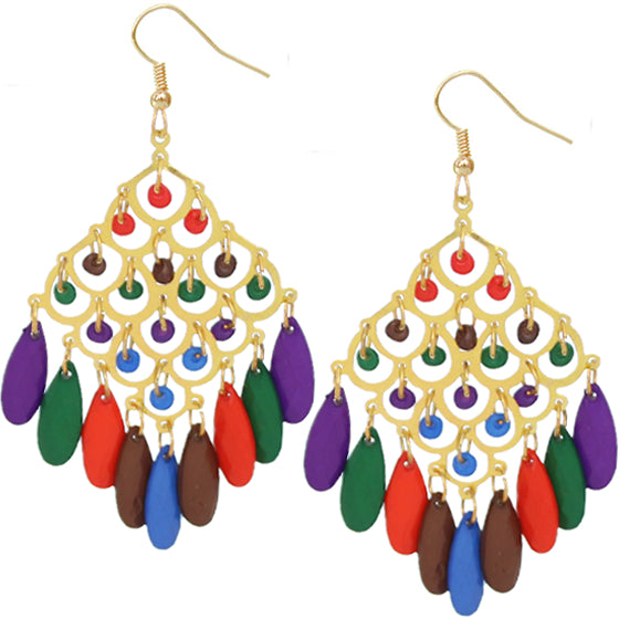 Multicolor Beaded Dangle Chandelier Earrings