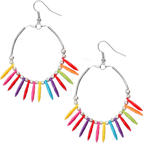 Multicolor Beaded Disc Hoop Earrings
