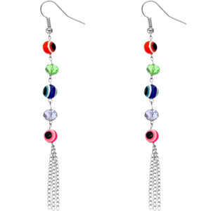 Multicolor Beaded Evil Eye Chain Earrings