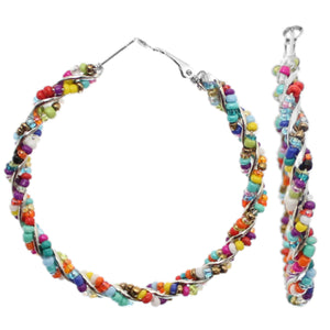 Multicolor Intertwined Beaded Hoop Earrings
