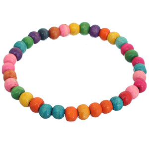 Multicolor Wooden Beaded Stretch Bracelet