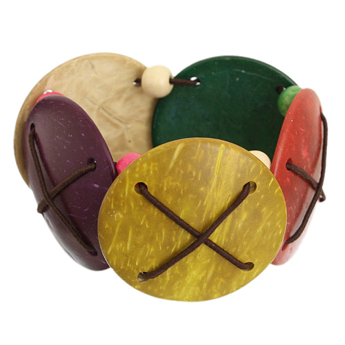 Multicolor Wooden Circular Beaded Stretch Bracelet