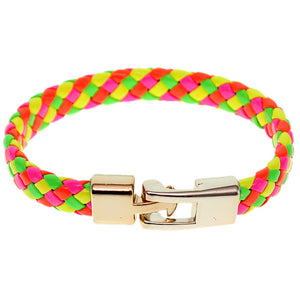 Multicolor Braided Woven Leather Latch Bracelet