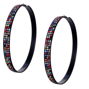 Multicolor Extra Large Rhinestone Hoop Earrings