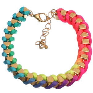 Multicolor Fabric Twisted Metal Clasp Bracelet