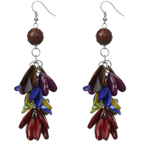 Multicolor Faceted Beaded Oval Dangle Earrings
