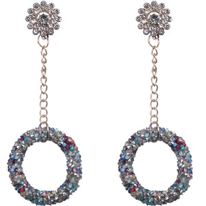 Silver Multicolor Crystal Confetti Drop Chain Earrings