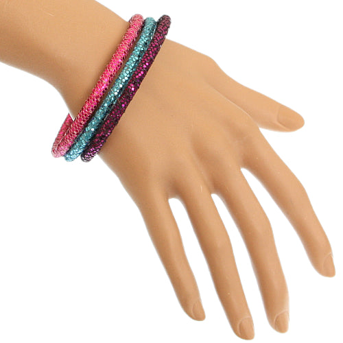 Multicolor Glitter Stacked Bracelets