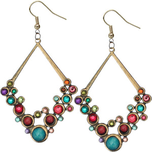 Multicolor Gold Beaded Open Triangle Rhinestone Earrings