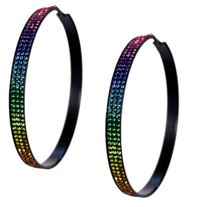 Multicolor Extra Large Gradual Rhinestone Hoop Earrings