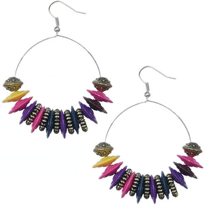 Multicolor Large Disk Hoop Earrings