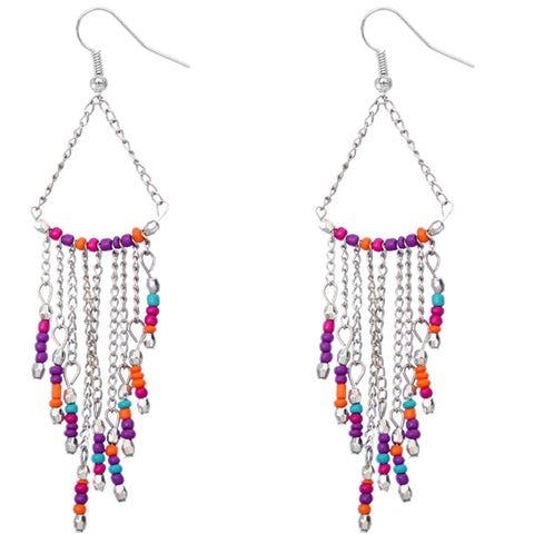 Multicolor Long Beaded Dangle Earrings