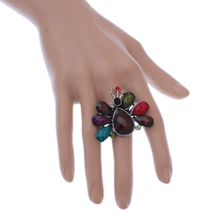 Multicolor Large Beaded Peacock Adjustable Ring