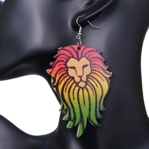 Multicolor Rasta Lion Face Wooden Earrings
