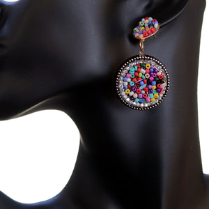 Multicolor Seed Bead Round Flat Disc Earrings
