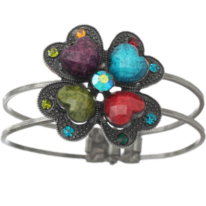 Multicolor Heart Rhinestone Bead Hinged Bracelet