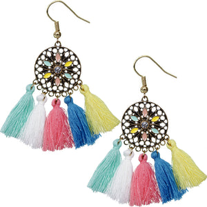 Multicolor Tassel Fringe Drop Earrings
