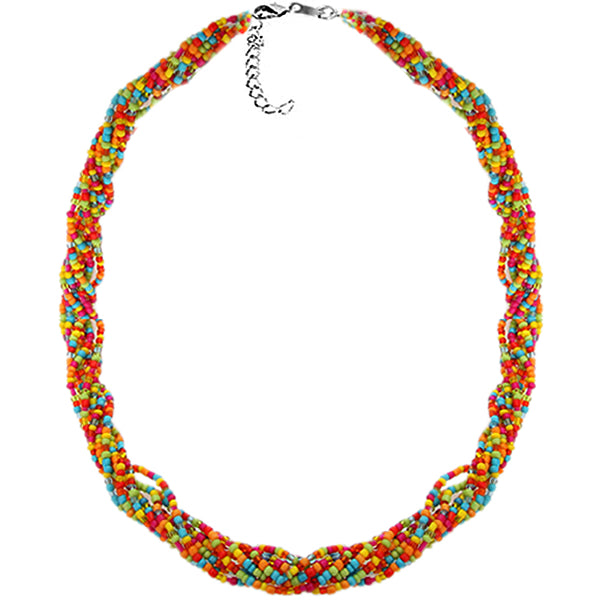 Multicolor Intertwined Sequin Beaded Necklace