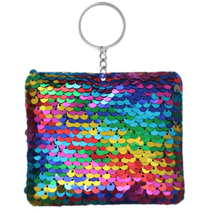 Multicolor Plush Sequin Keychain