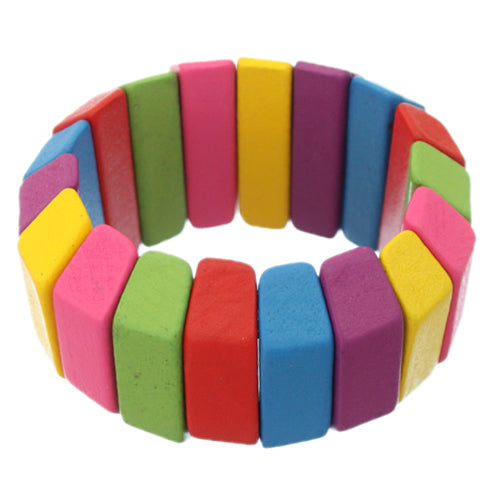 Pink Multicolor Wooden Arch Stretch Bracelet