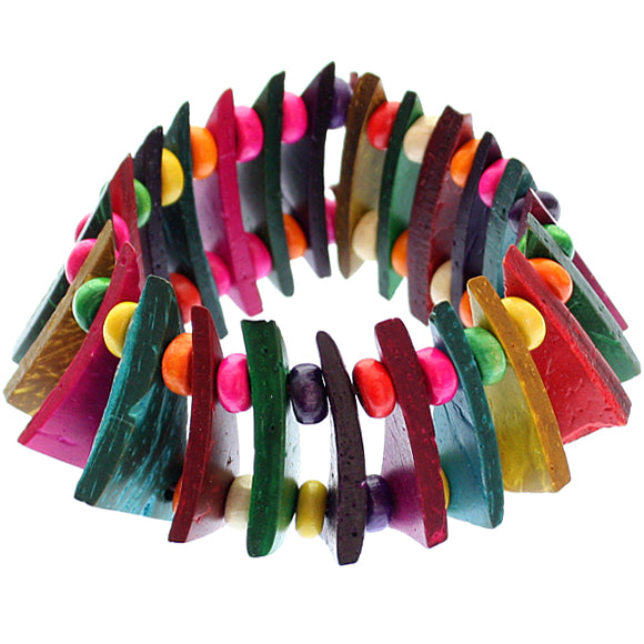 Multicolor Wooden Geometric Triangle Stretch Bracelet