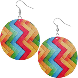 Multicolor Zigzag Pattern Wooden Earrings