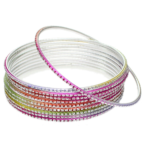 Multicolor Thin Glitter Stacked Bangle Bracelets