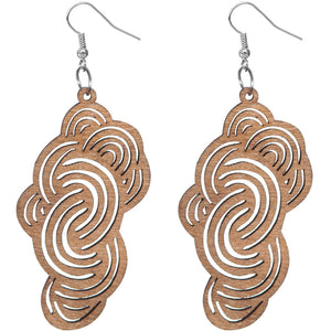 Brown Swirly Cloud Wooden Earrings