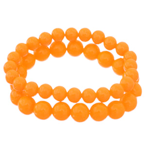 Orange 2-Piece Beaded Stretch Bracelets