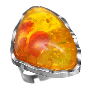 Orange Side Triangle Large Stone Adjustable Ring