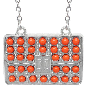Orange Beaded Charm Handbag Chain Necklace