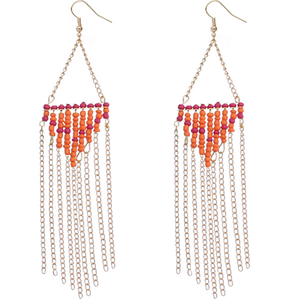 Orange and pink color earrings