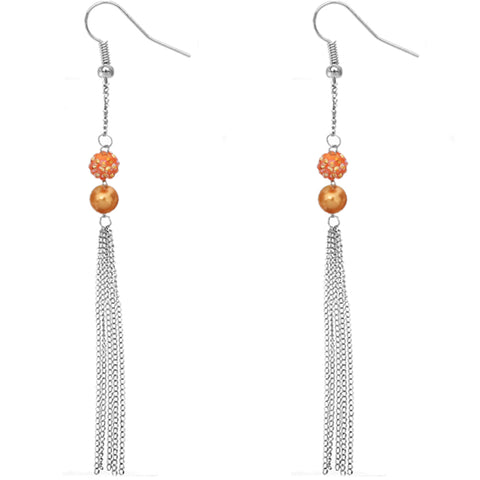 Orange Beaded Fireball Chain Earrings