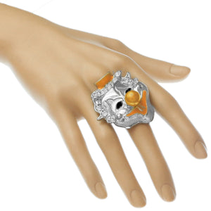 Orange Bead Rhinestone Clown Adjustable Ring